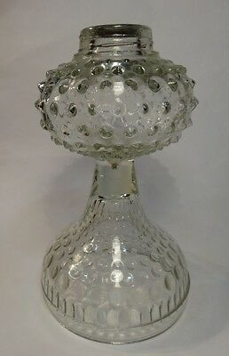 Antique EAPG Glass Hobnail w/ Graduated Thumbprint Oil Lamp Base