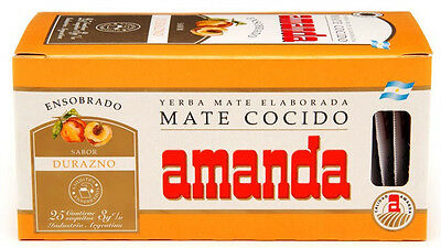 Yerba Mate Tea Bags Amanda Peach Flavour 25 tea bags | Produced in Argentina