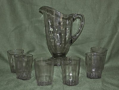 Fostoria Glass Pitcher & 6 Tumblers Set Fairlane Blank w/National Pattern