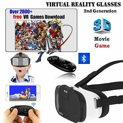 Original VR Box Fiit Virtual Reality Glasses 3D Headset + Remote for iPhone UK