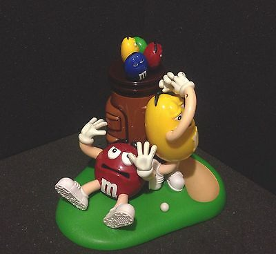 Large M&M's Original Collectible Golf Red Yellow Candy Dispenser M M s