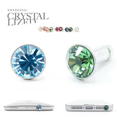 2pc Anti Dust Plug Ear Cap Made with Swarovski Element Aqua Blue+Olive Green