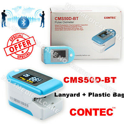 CONTEC New Bluetooth Blood Oxygen Fingertip Pulse Oximeter, CMS50D-BT, Sky blue