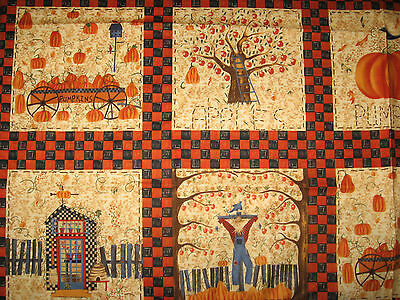 Quilting Cushion Panel Picture Strip Pumpkin Harvest Scarecrow Collection 2001