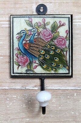 Beautiful Antique Style Hand Painted Birds on Marble Tile Iron Wall Hook/Hanger