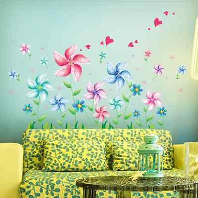 Windmill Flowers Removable Bedroom Baby Room Vinyl Wall Sticker Decal Home Decor