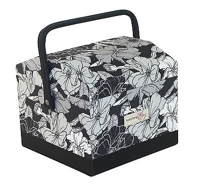NEW Everything Mary  EVM9104-1 Black/White Sewing Box Dome Square 19x22¾x22¼cm
