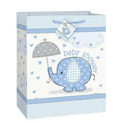 12.5 inch Blue Boy's CUTE ELEPHANT Baby Shower Party Large Paper Gift Bag