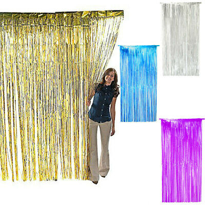 Metallic Fringe Curtain Window Party Foil Tinsel Room Wedding Decor