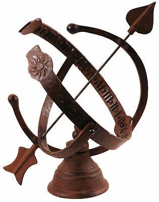 Armillary Sundial Cast Iron Garden Ornament Accessory Brown