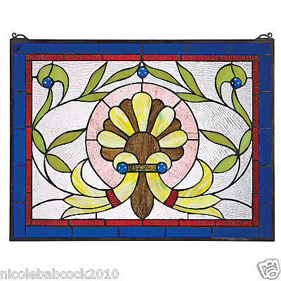 Classic Antique Style Floral Patterened Stained Glass Window