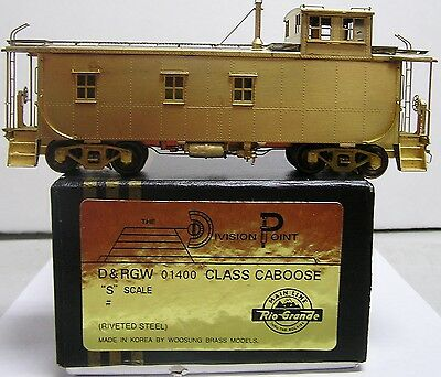 S Scale Brass Division Point D&RGW 01400 Class Caboose (Riveted Steel) Unpainted