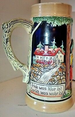 Unlidded West German Stein 0,5L River and building scenery, friends at the table