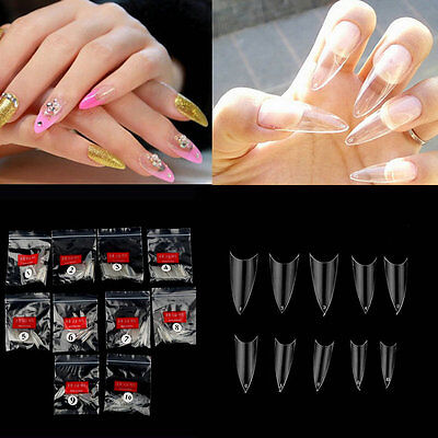 500Pcs Transparent Stiletto Point French Acrylic UV Gel False Nail Tips E5