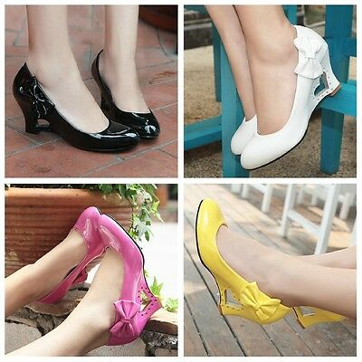 Women's Wedge Heels Wedding Shoes Synthetic Leather Round Toe Pumps US Size D022