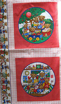 Fabric Teddy Picture Panel Quilt Cushion Bear Family Apple Harvest Vip Print Usa
