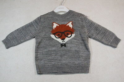 Baby Boy Size 00,0,1,18m,2 Fox & Finch Winter Grey Knit Jumper With Graphics NWT