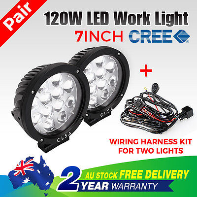 Pair 120W 7INCH CREE LED Driving Work Spot Light Car Offroad 4WD Wiring Harness