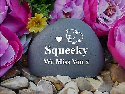 Pet Guinea Pig Memorial Pebble (Stone Effect) Weatherproof & Personalised (FS)