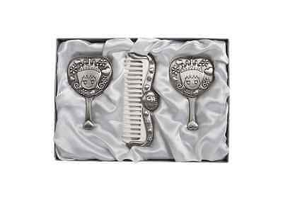 Princess Set 3 Comb Brush Mirror Set Pewter Baby Shower Christening Day Gift