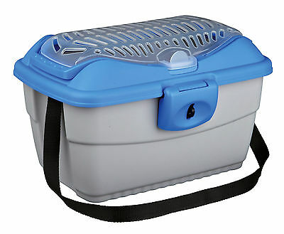 Mini-Capri Transport Carrier Box for Small Animals Guinea Pigs Rabbits Grey/Blue
