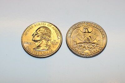 Pair of Real Double Sided Quarters 1 Two Headed and 1 Two Tailed Coin