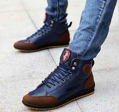 Winter Men's Casual Leather High Top Sneaker Lace-up Work Shoes Ankle Boots #G25
