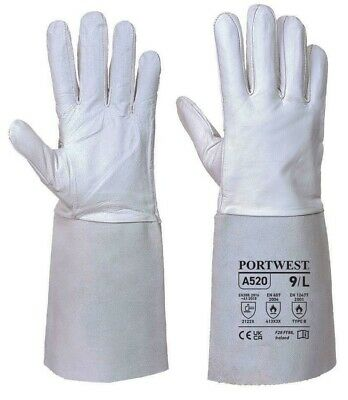 Portwest  A520 Leather Tig Welders Gauntlet Work Gloves Welding Safety Workwear