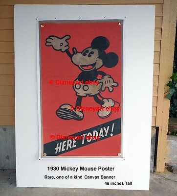 "Original Mickey Mouse Theater Poster: ""here Today!"" - 1929 - 1930 - Extreme Rare"