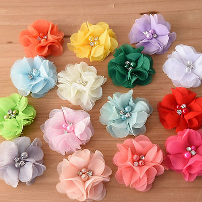 DIY Chiffon Fabric Flower with Pearls and bling Rhinestone Embellishment Craft
