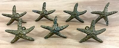 Vintage Brass Starfish Kitchen Bath Cabinet Drawer Pulls Knobs Handles Set of 7