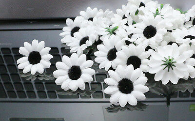 50pcs Artificia daisy Silk Flowers Heads wedding Party Decor Floral black-WHITE