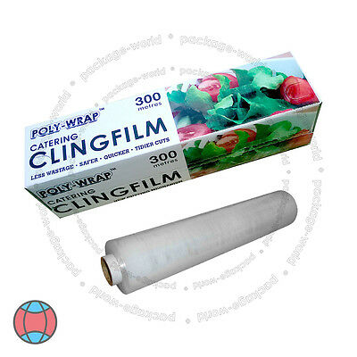 New Cling Film With Cutter Roll Kitchen Catering Food Butcher Wrap 300mm x 300m