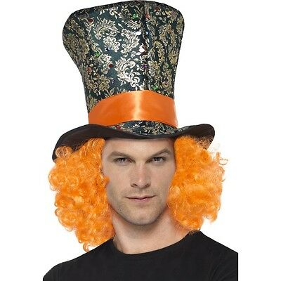 Men's Women's Mad Hatter Top Hat & Orange Hair Alice in Wonderland Tea Party