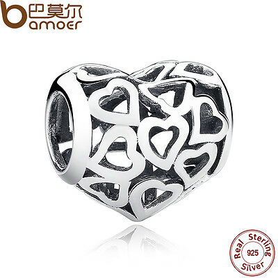 Bamoer Retro Solid S925 Sterling Silver Hollow Heart Charms Fit Bracelet Jewelry