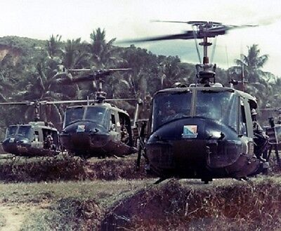 """Formation of UH-1 Helicopters from Alpha Company 8""""x 10"""" Vietnam War Photo 115"""