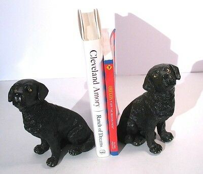 """Black Lab Labrador Dog Puppy Resin Bookends Figurines by Melannco 6.5"""" Tall"""