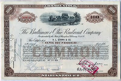 Baltimore & Ohio Railroad Company Stock Certificate B&O CSX Brown