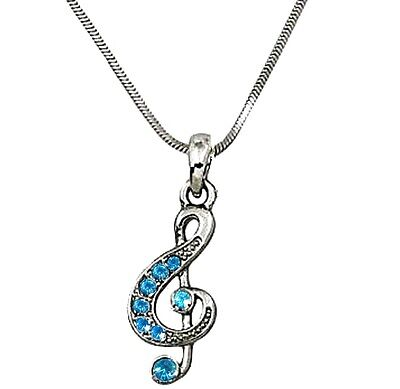 Silver Tone Clear Crystal Treble G Clef Music Note  Necklace Fast Shipping
