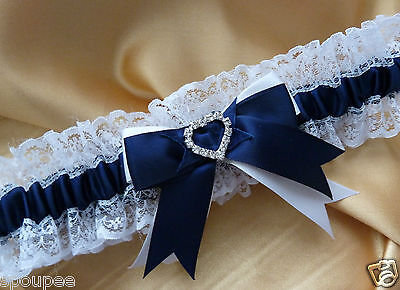 Wedding Garter White And Navy Blue Lace Satin Heart Diamante Crystal