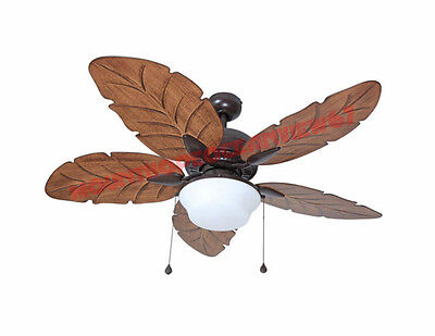 Indoor Outdoor Ceiling Fan Patio Porch Light Kit Bronze Palm Leaf Tropical Blade