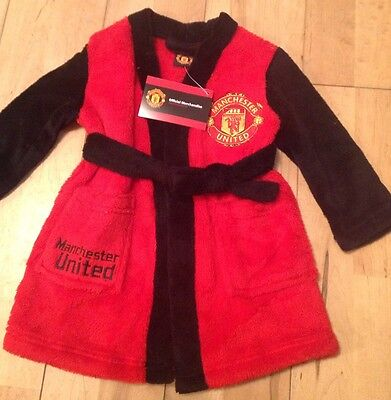 Boys Infants Mufc Official Dressing Gown Robe Supersoft 18/24 months