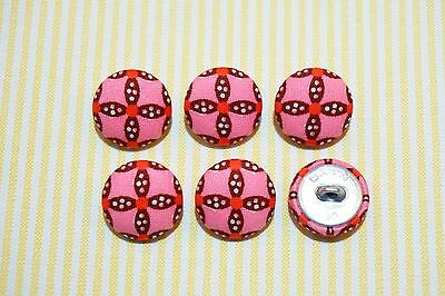6 Pink with Dark Brown Pattern Fabric Covered Buttons - 20mm