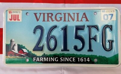 Plaque d'immatriculation Virginie 2615FG USA US License Plate