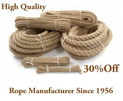 Natural Jute Rope Twisted Decking Cord Garden Boating Sash Camping 6-50mm