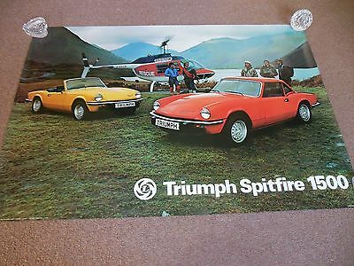 "NOS British Leyland 1976 Triumph Spitfire 1500 UK Dealer Poster 46"" by 27"""