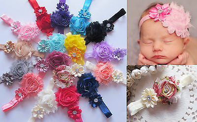 Baby Girls Soft Shabby Flowers Hairband Elastic Headband Hair Band Accessories