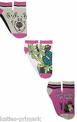 Primark Ladies Girls 3 Pairs Disney Jungle Book  Ankle Socks Trainer Shoe Liners