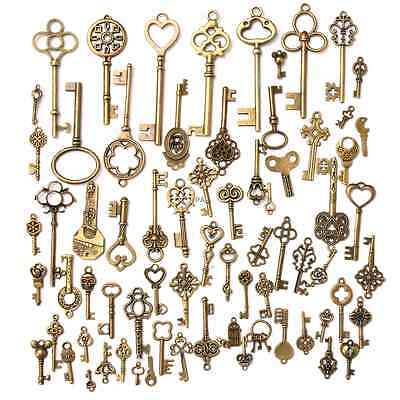 70pcs Set Vintage Antique Old Look Bronze Skeleton Keys Fancy Heart Bow Pendant