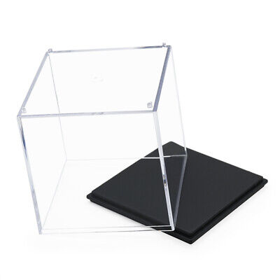 """Clear UV Acrylic/Plastic Display Box Case Dustproof Tray Protection Cube 3.9""""H"""